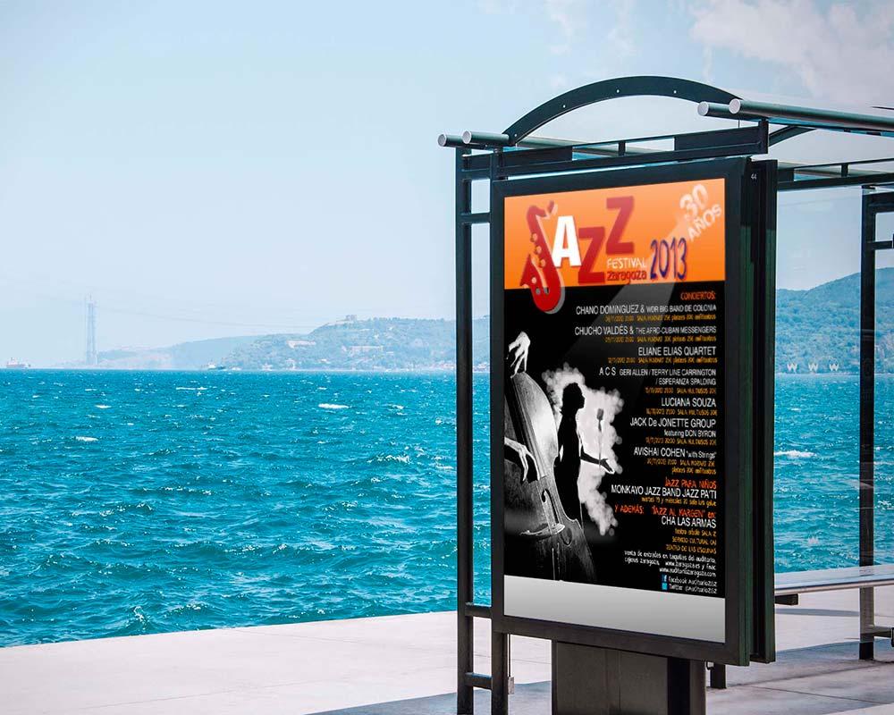 Cartel publicitario para Festival Jazz Zaragoza 2013