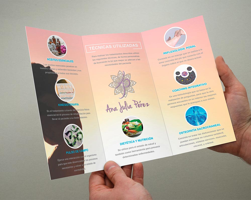 Tríptico y Tarjetas Publicitarias para Terapias Ana Julia